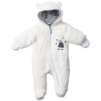 9e9620abe07da Bébé Combinaison De Neige Manteau à Capuche Fleece Barboteuses Chaud Footed  Jumpsuit Hiver Tenues