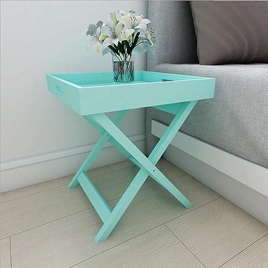 ACZZ Mesa auxiliar para sofá, mesa auxiliar de madera maciza ...