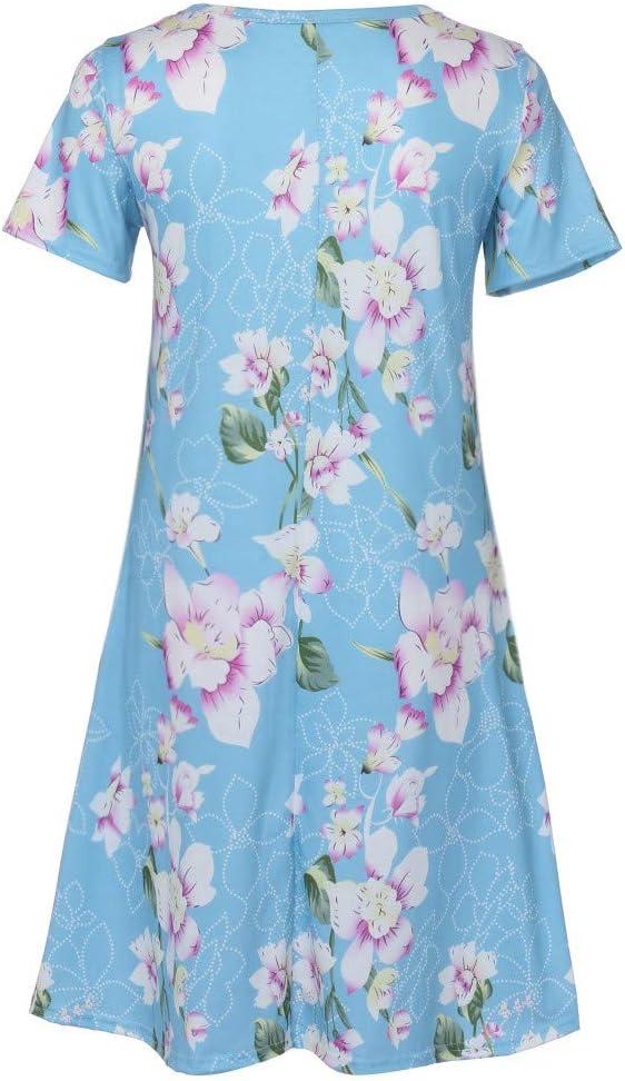 Kwiaty Swing Sukienka damska Lato KrÓtki rękaw Nadruk Kieszenie Sukienka letnia Sukienka: Odzież