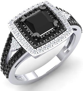 anillo de plata con diamantes negros y blancos en forma de sello