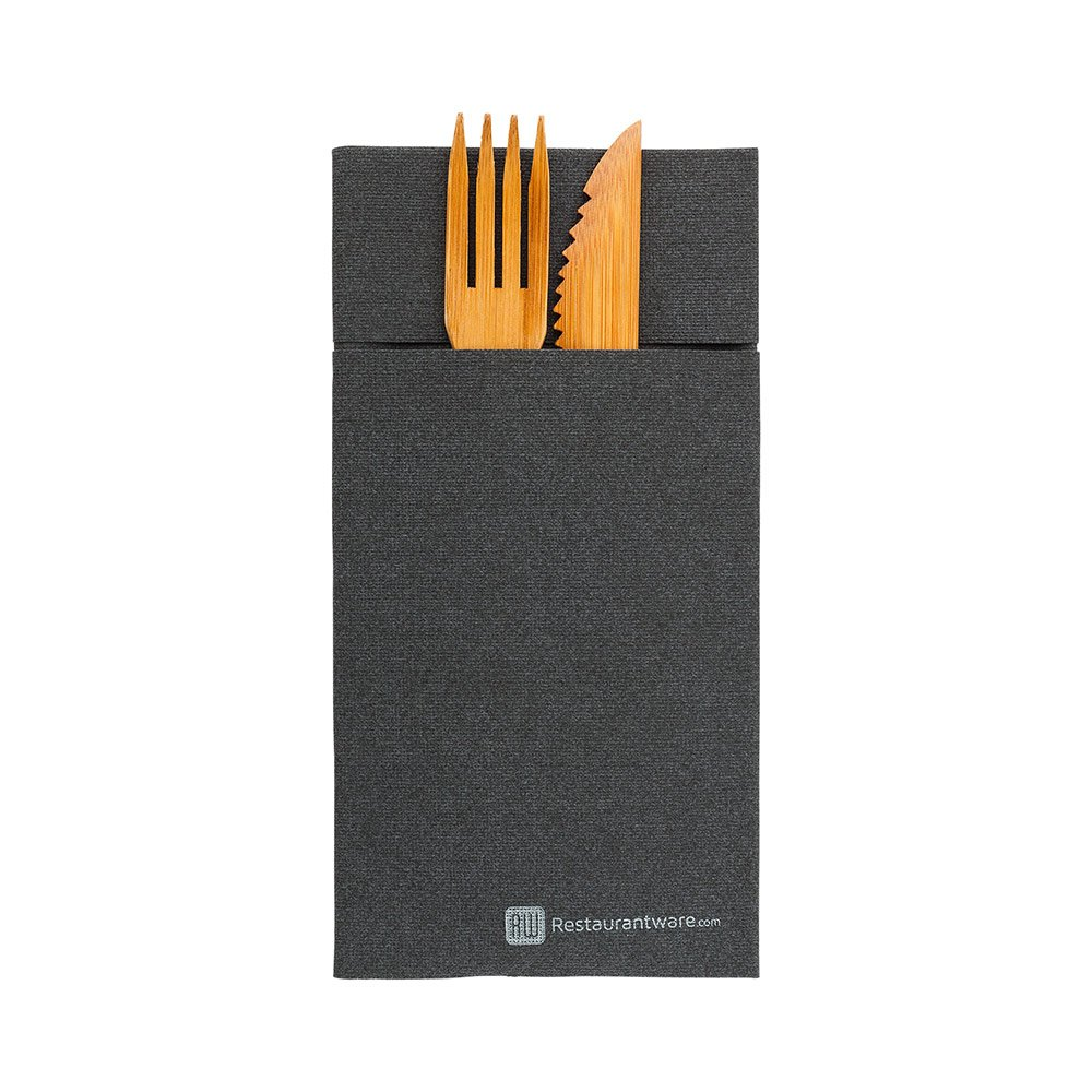 Luxenap Air Laid Kangaroo Black Dinner Napkins - Soft and Durable 16'' x 16'' Paper Napkins with Built-in Flatware Pocket - Disposable and Recyclable – 40-CT – Restaurantware
