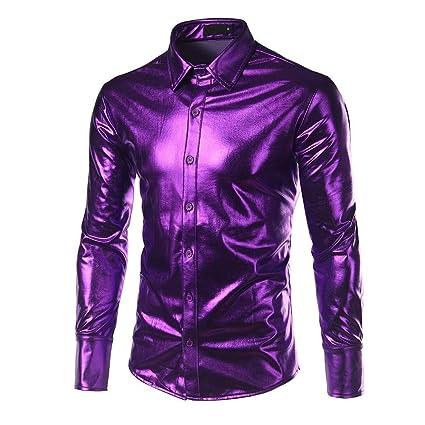24179a63c Amazon.com: KFSO Mens Dress Shirt Glitter Long Sleeve Button Down ...