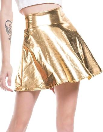 Gocgt Mini Falda Plisada Sexy, Cintura Alta, Piel sintética, con ...