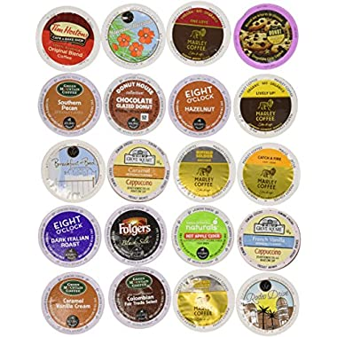 40-count - NEW Regular and Flavored Coffee Variety Pack for Keurig 2.0 Brewers - Featuring Wolfgang Puck, Green Mountain, Grove Square, Donut House, Eight O'clock, Marley, Caza Trail, Authentic Donut House