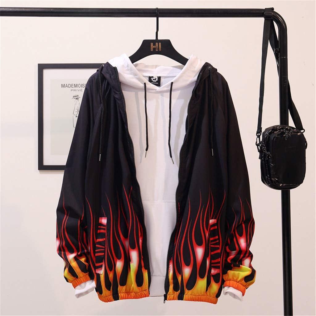 Yajiemen Mens Fashion Printed Long-Sleeved Hooded Sweater Coat Sports Coat Top Blouse
