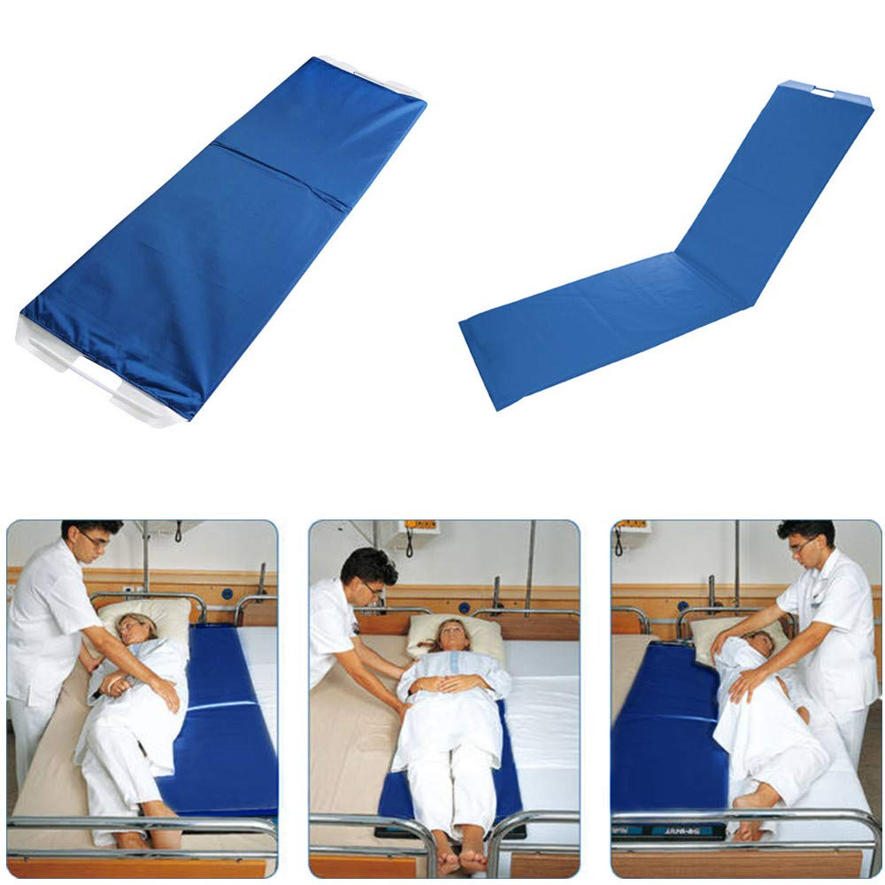 Rolling Patient Transfer Board, Easy Go Roller Patient Transporter Slide Sheet Assist Device for Transferring Patient from Bed to Bed or Operationg Table, Foldable, 67'' * 19.7'' (Blue)