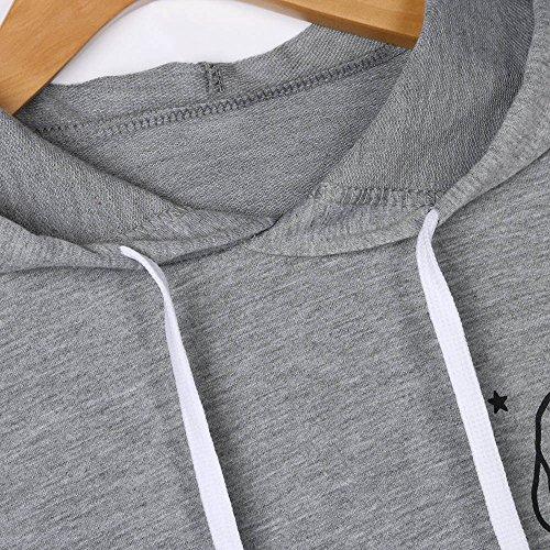 Tee Camicetta Cime T Moda Inverno Cappuccio Donna Tops Manica Crop Felpe Camicie Elegante Grigio Lunga Damark Stampato Abbigliamento Pullover Magliette Donne Shirt Casuale waqO7A