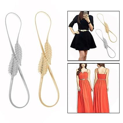84ca9a0d5 OFKP 2 Pcs Women Adjustable Metal Elastic Leaves Stretch Waist Belt Golden/ Silver: Amazon.ca: Home & Kitchen