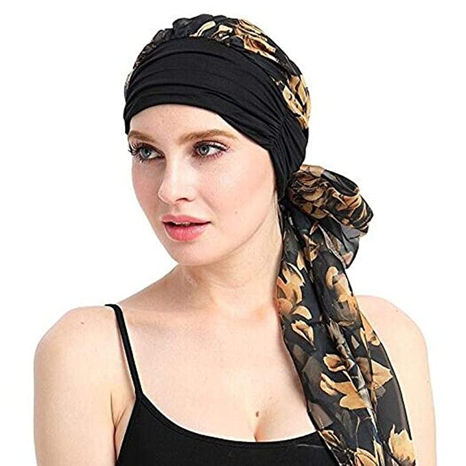 Huihong Elástico Turban Señoras Pañuelo De Cabeza Musulmanes Larga Modernas Casual Cola Sombrero Pérdida De Cabello Cáncer Chemo Hijab Headwear Conjunto con ...