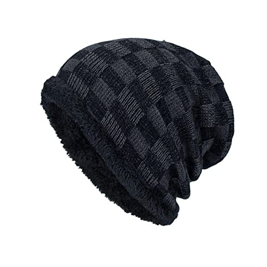 Highpot Men Fashion Winter Plaid Knit Beanie Hats Wool Knit Warm Hat Ski  Caps (Black 7cbc18cbbe6