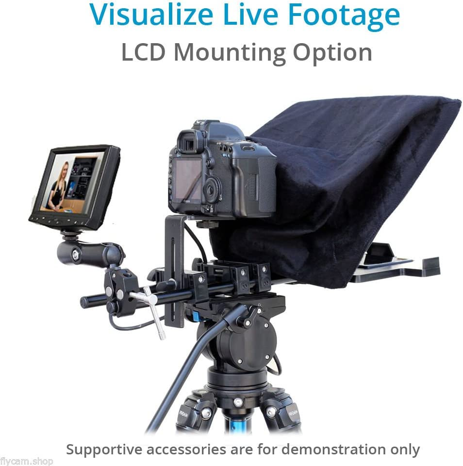 FILMCITY Easy Teleprompter Professional Portable Adjustable for iPad//Tablet//Tab//Smartphone//iPhone//DSLR Video Camera iPhone Adapter FC-TP-EZ with Cotton Fabric Hand Gloves Travel Bag