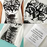 Etosell-Retro-Lady-CrewNeck-Short-Sleeve-T-Shirt-Cute-Cat-Print-Loose-Tops-M