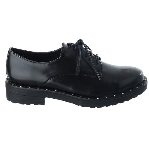 Miss IMAGE UK Zapatos de Mujer Mujer Cordones Tachuela Zapatos Oxford Mocasines Oficina Escuela Zapatos de Trabajo Talla - Piel Sintética Negro, ...