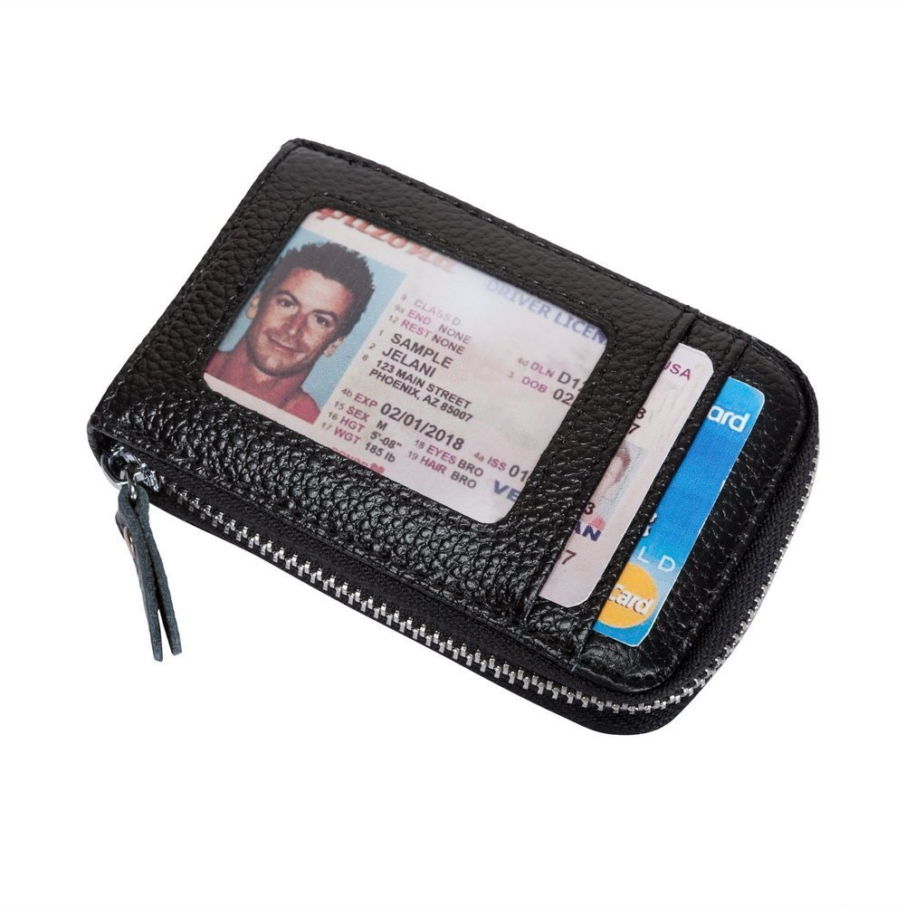 VIVOCASE Genuine Leather Multi Card Money Organizer Credit Card Holder Wallet with Zipper Pocket (Black) by VIVOCASE