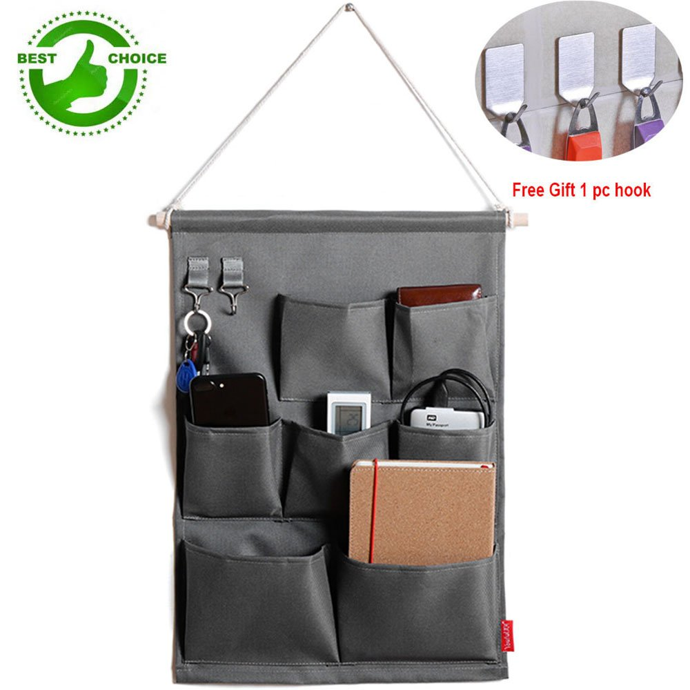 Hanging Wall Organizer Storage pockets Over the Door Storage Bag with 7 Pockets Oxford Fabric, Grey (A)