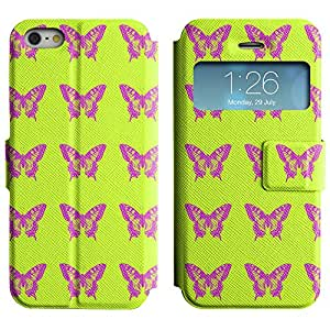 LEOCASE mariposas bonitas Funda Carcasa Cuero Tapa Case Para Apple iPhone 5 / 5S No.1005023