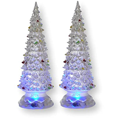 banberry designs lighted christmas trees set of 2 color changing led acrylic xmas trees - Led Lighted Christmas Decorations
