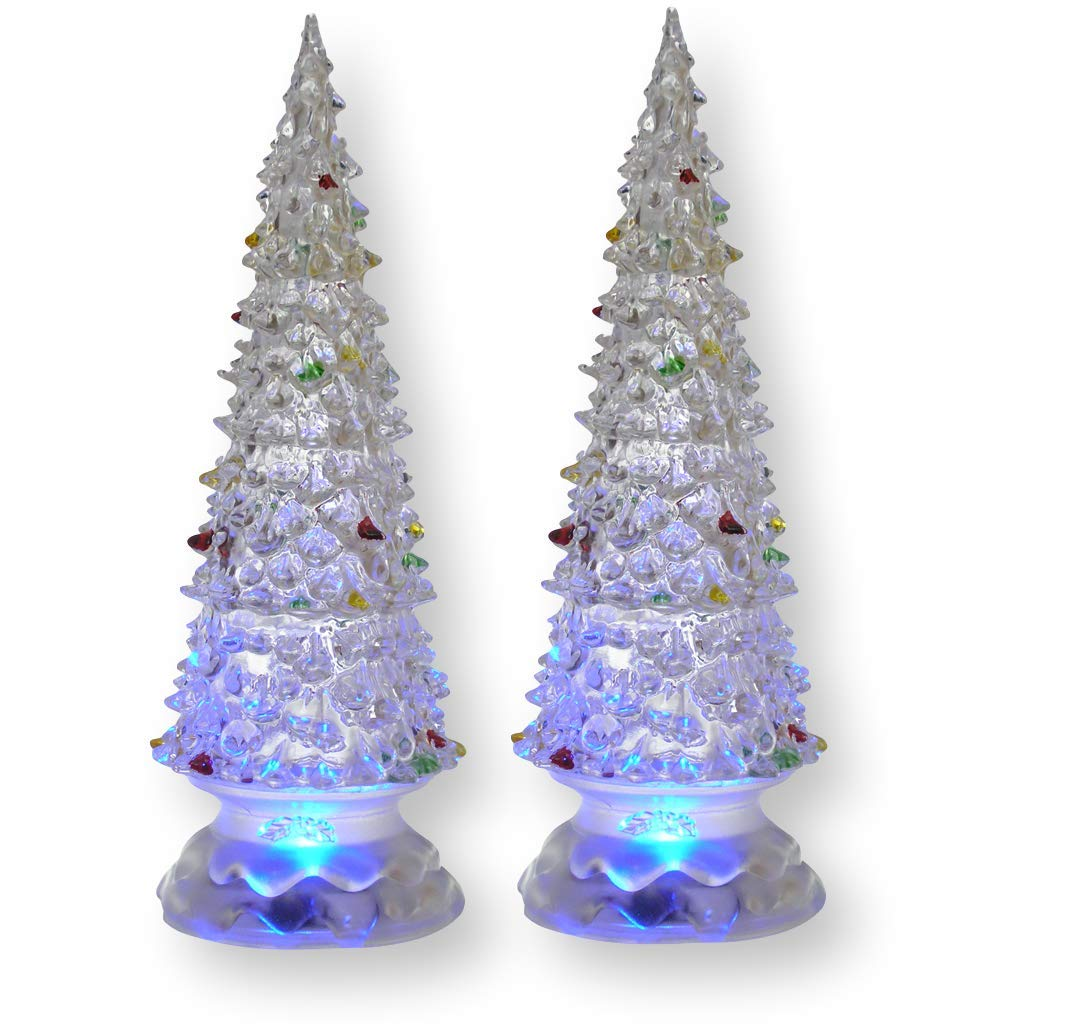 Banberry Designs Lighted Christmas Trees - Set of 2 Color Changing LED Acrylic Xmas Trees - Each Tree has Colorful Ornaments - Holiday Decorations - Christmas Decorations by Banberry Designs (Image #1)