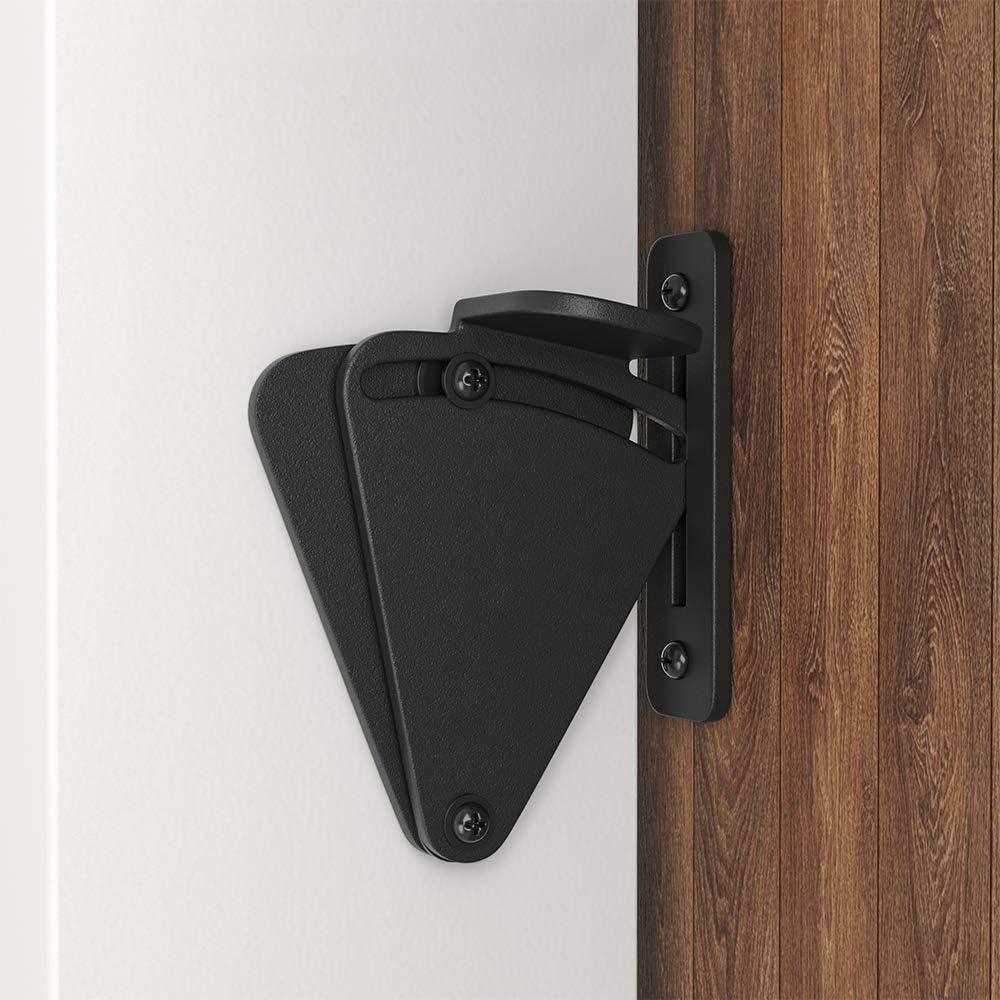 WINSOON Barn Door Lock Hardware Black Steel Sliding Privacy Latch for Closet Shed Pocket Doors Wood Gates - Black