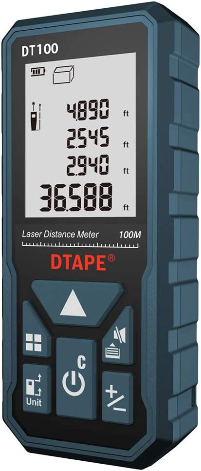 Laser Measure, DTAPE 328 Feet Digital Laser Tape Measure M/In/Ft Unit switching Backlit LCD and Pythagorean Mode, Measure Distance, Area and Volume - Carry Pouch and Battery Included DT100