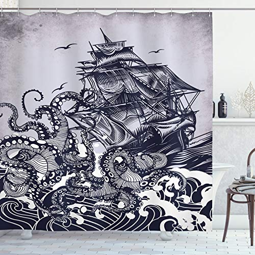Ambesonne Nautical Shower Curtain, Kraken Octopus Tentacles with Ship Sail Old Boat in Ocean Waves, Cloth Fabric Bathroom Decor Set with Hooks, 70
