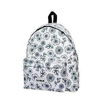 Source Mochila Escolar Urbana Infantil de Lona 25 Litros Backpack , Floral Tiles Flores Blanco y Negro: Amazon.es: Equipaje