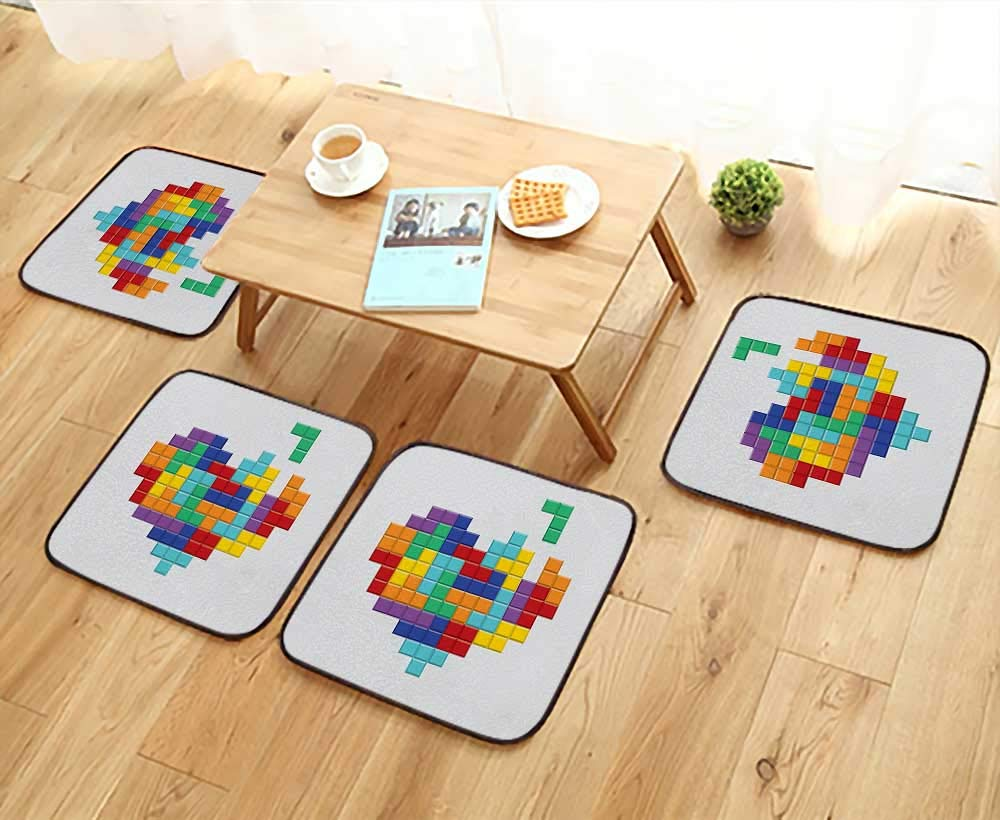 Leighhome Modern Chair Cushions Collection Video Game Tetris Colorful Heart Valentines Day and Happy Valentine Celebration Convenient Safety and Hygiene W23.5 x L23.5/4PCS Set