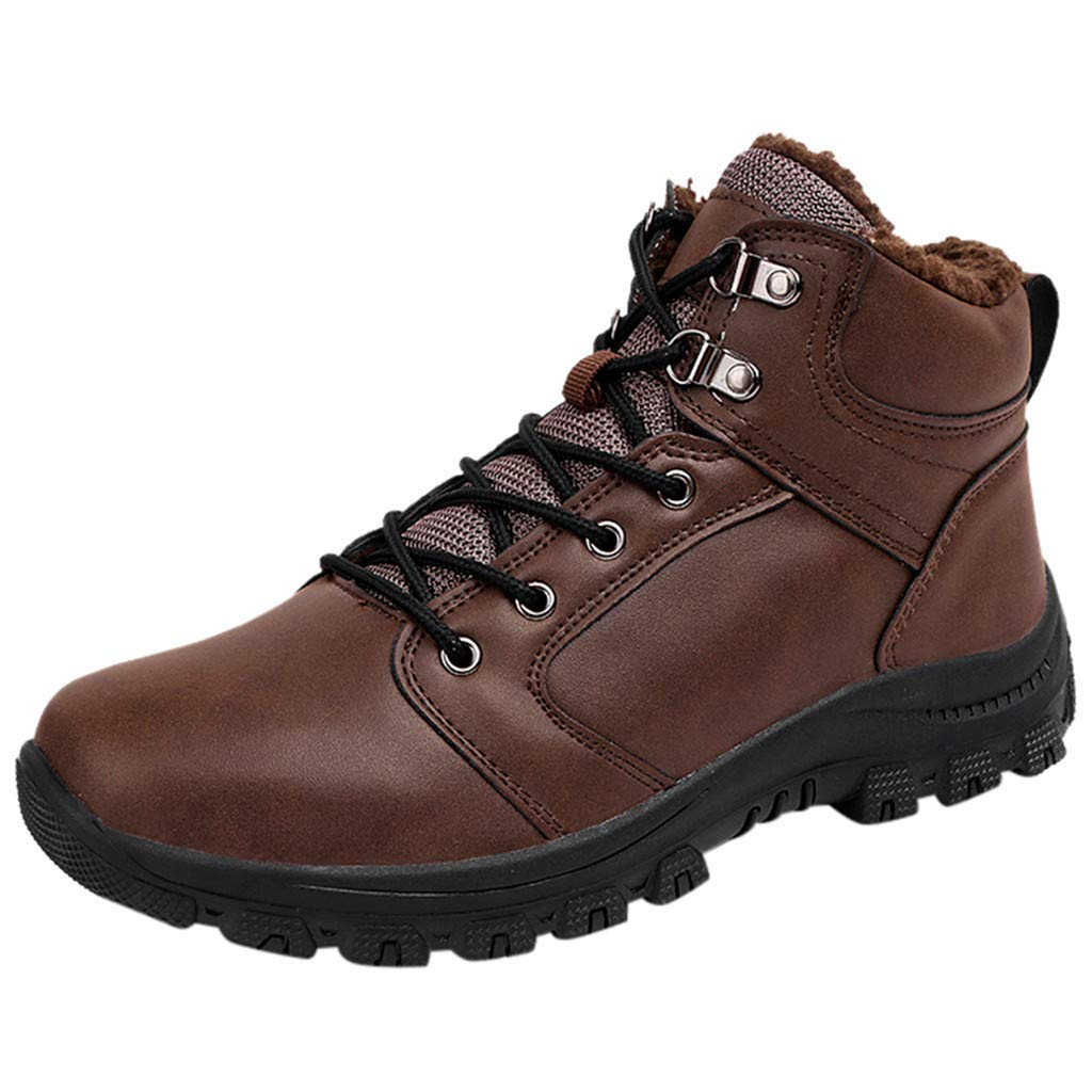 ZOMUSAR Men Boy Outdoor Casual Shoes High-Top Fashion Hiking Shoes Men Non-Slip Sports Shoes Brown by ZOMUSAR