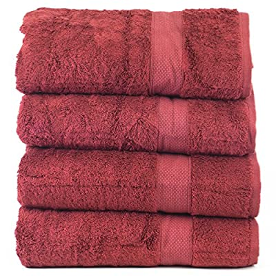 Luxury Hotel & Spa Towel 100% Genuine Turkish Cotton Bamboo (Cranberry, Bath Towel  - Set of 4) - 35% Natural Organic Bamboo 65% Turkish Cotton Soft and silkiness of cashmere with an absorbency that surpasses cotton. Purchased by large 5 Star Hotels Nation Wide - bathroom-linens, bathroom, bath-towels - 61PpVTJv5uL. SS400  -