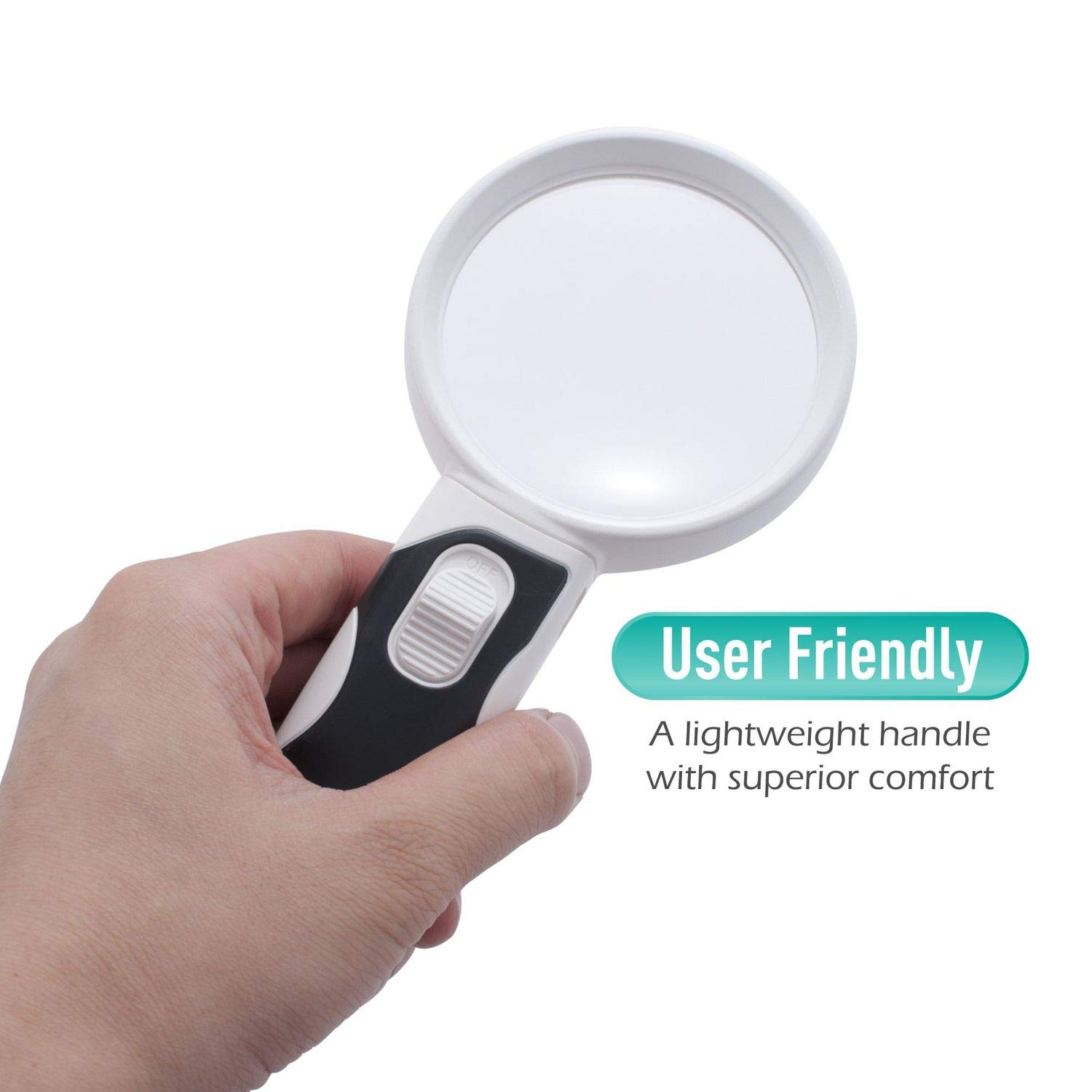 Handheld LED Magnifying Glass with 3 Replacement Lens, Insten 2.5X 6X 16X Handheld Magnifier Set with Lights for Seniors, Kids, Reading Maps, Jewellery, Watch & Computer Repairs, Inspection by INSTEN (Image #5)