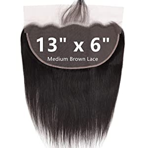 """12 Inch 13x6 Pre Plucked Lace Frontal Straight Wave With Baby hair Brazilian Virgin Human Hair Frontal Closure With Bangs Knots Can Be Bleached … (12""""-13""""x6"""", Natural Black)"""