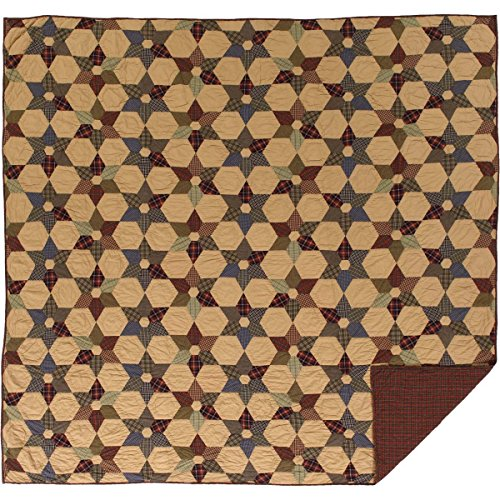 VHC Brands Rustic & Lodge Primitive Bedding - Tea Star Tan Quilt, Queen, Dark