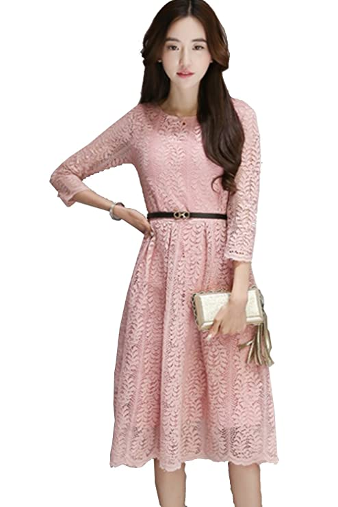8578d8e820cc Unomatch Women Decorated Fern Leaves Lace Dress Pink (Large, Pink) at  Amazon Women's Clothing store: