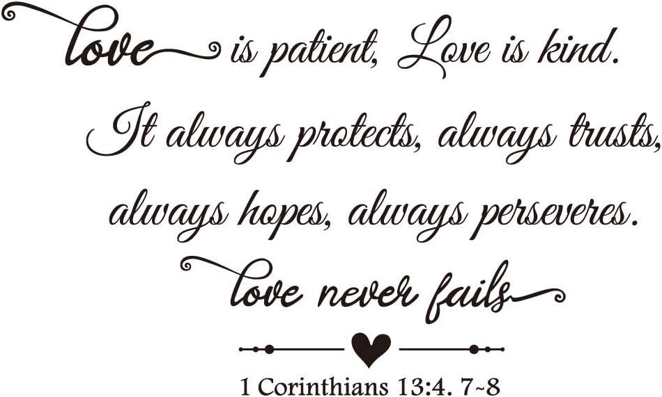ZSSZ Love is Patient, Love is Kind. It Always Protects, Always Trusts, Always Hopes, Always perseveres. Love Never Fails 1 Corinthians 1 3:4. 7-8 Bible Verse Quotes Scripture Vinyl Wall Decal