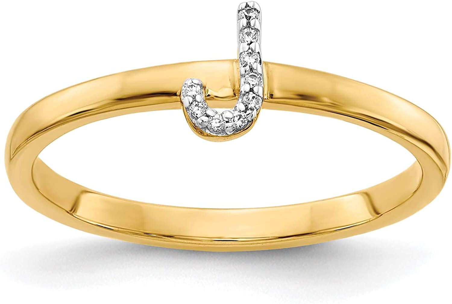 14k Yellow Gold w//Diamond Accent Initial Letter J Ring Size 7