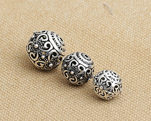 - Luoyi Vintage Thai Sterling Silver Beads, Round with Phalaenopsis, Spacer Beads, DIY Jewelry (C003Z) (10mm)
