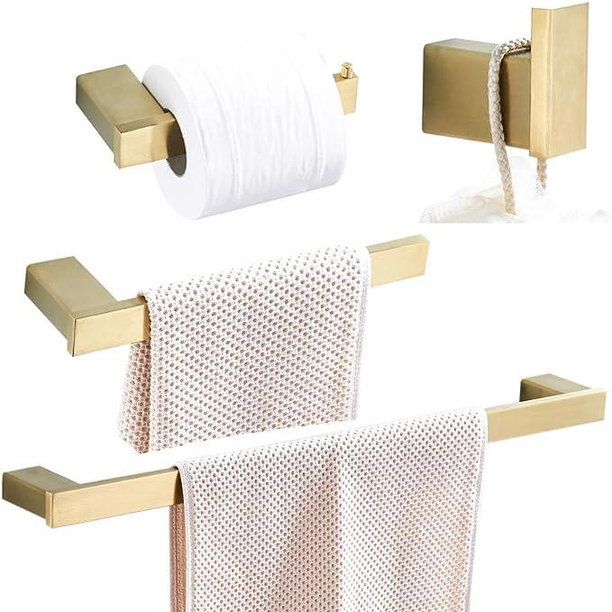 WOMAO Badezimmer Set Zubeh/ör Gold 4er Set Wandmontage Bohren Handtuchhalter Duschwand Deko mit Kristall Handtuchhaken Klopapierhalter