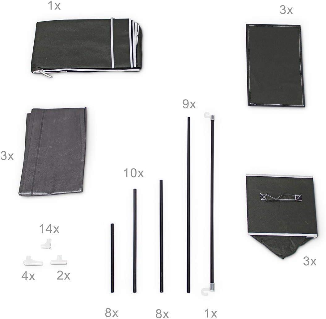 beige Relaxdays Faltschrank VALENTIN L H x B x T 162 x 88 x 48 cm Stoffschrank mit 3 Schubladen und 2 Ablagen Textilschrank zum staubsicheren Aufbewahren Kleiderschrank aus Vlies-Gewebe zum Falten
