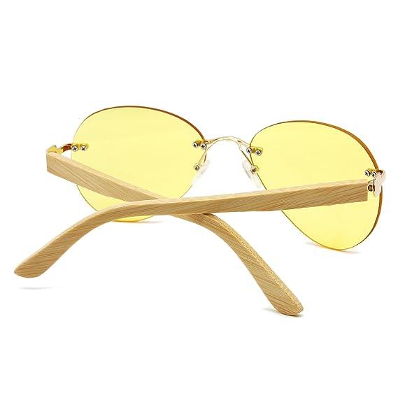 AMZTM Nuit Vision Réduire Les Reflets Conduite Lunette Classique Mode Bambou Bois Non-cerclées Aviateur Lunettes De Soleil Pour Femme et Homme Tendance 100% UV400 Protection 5TuEHd