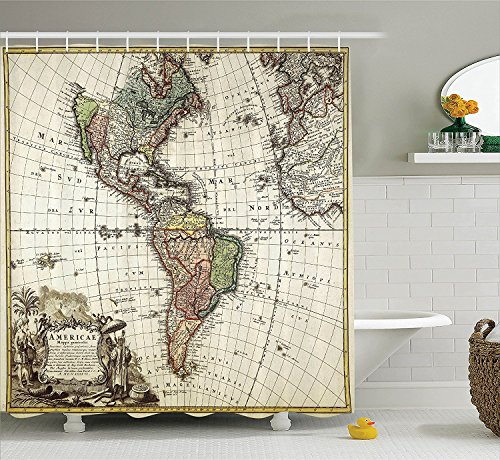 Ivory 05 By Rug (Ambesonne Wanderlust Decor Collection, Old Map Europe North South America Canada Medieval Atlantic Heritage Travel Image, Polyester Fabric Bathroom Shower Curtain Set with Hooks, Ivory Olive)