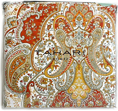 - Tahari Home 300 Thread Count Cotton Boho Style Moroccan Paisley Medallion Duvet Cover with 2 Pillow Shams, Queen