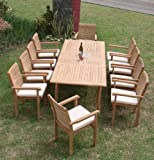 "New 11 Pc Luxurious Grade-A Teak Dining Set - Large 117"" Rectangle Table and 10 Hari Stacking Arm Chairs #WHDSHRb"