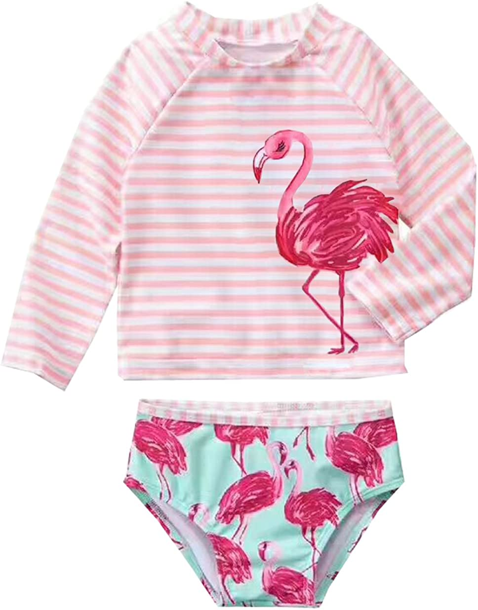 Infant Baby Girls Flamingo Rash Guard Sets Girl Stripe Swimwear Long Sleeve Swimsuit UPF50+