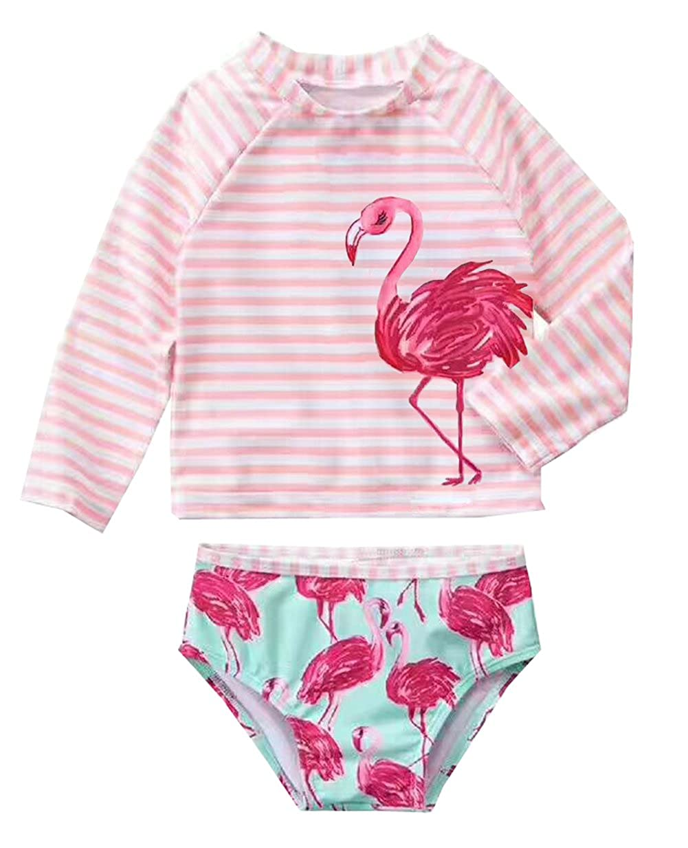 Infant Baby Girls Rashguard Sets Long Sleeve Swimwear Girl Swan Swimsuit UPF50+