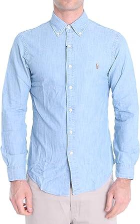 Polo Ralph Lauren Mod. 710795458 Camisa Jeans Slim Fit Hombre Azul Claro XXL: Amazon.es: Ropa y accesorios