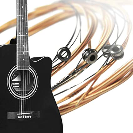 Jaune ULILICOO Jeu de cordes de guitare novice Jeu de cordes de guitare d/ébutant Pratique Folk Guitar Set