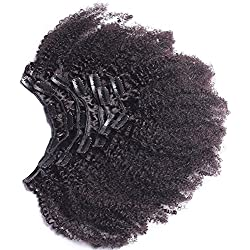 "Afro Kinky Curly Clip In Human Hair Extensions Mongolian Virgin Human Hair African American Clip In Extensions16"" Clip Ins 120gram/set,7pcs"