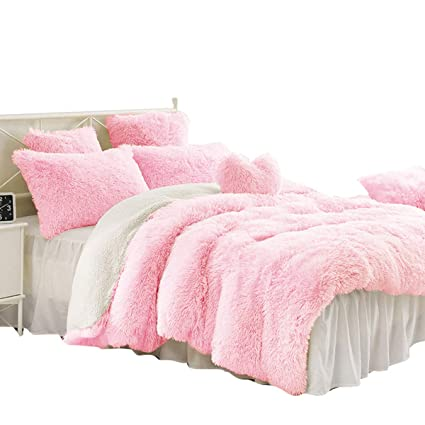cacc985e37f77 Sleepwish Pink Shaggy Duvet Cover Ultra Soft Plush Faux Fur Bedding Set 3  Pieces Luxury Teenage Girls Bed Cover, Queen