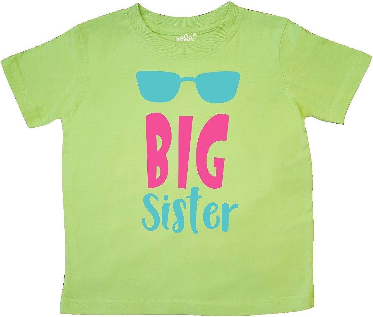 inktastic Big Sister Sunglasses Blue Pink Toddler T-Shirt Older Sister
