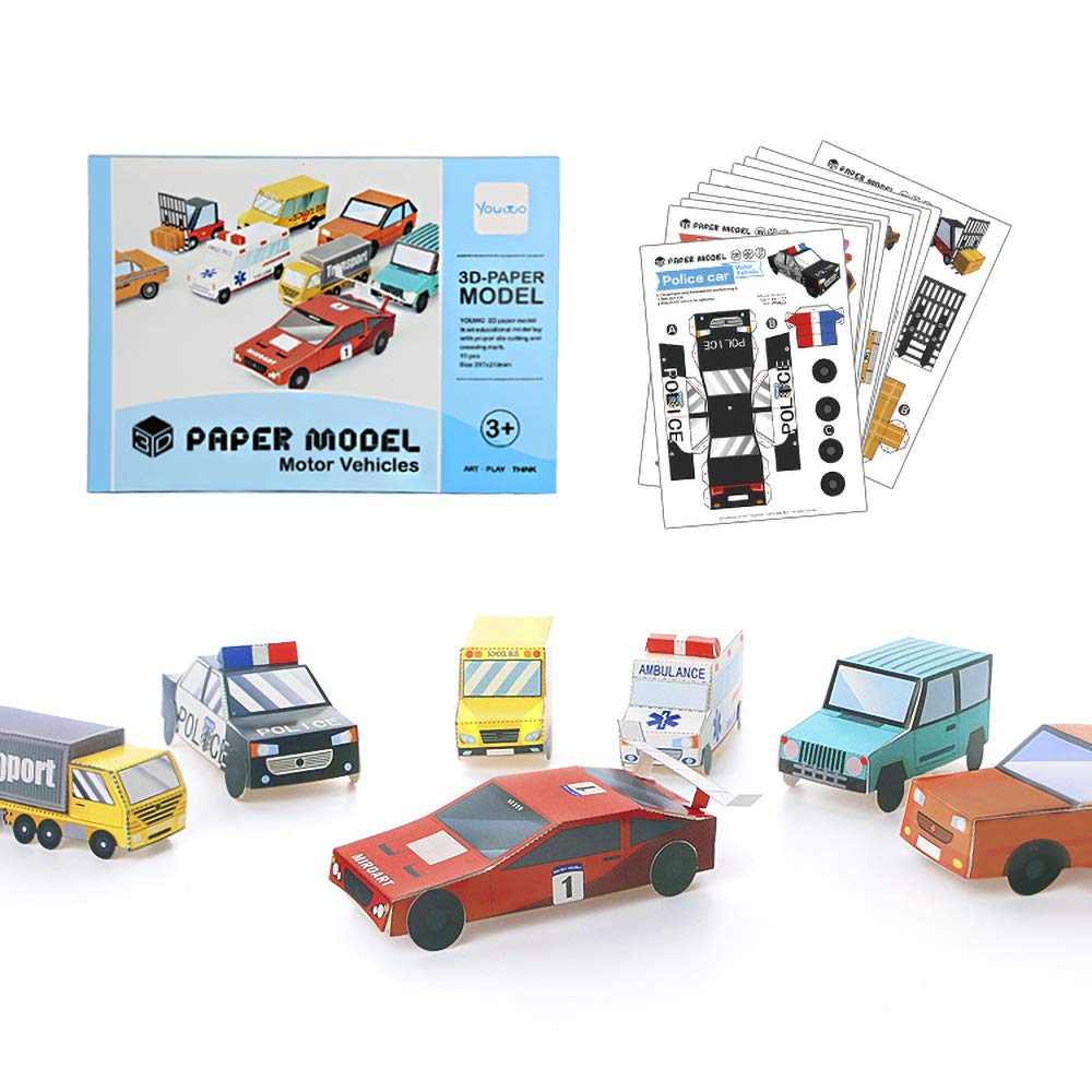 Youwo Folded Paper Toy Kit- 3D Origami Car Origami Craft kit Origami Cars  Set,Origami and Build